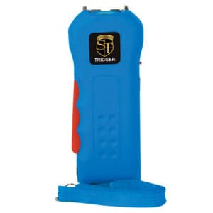 blue trigger stun gun with flashlight standing