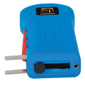 blue trigger stun gun with flashlight side view with prong showing