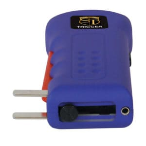 purple trigger stun gun with charging prongs showing on side