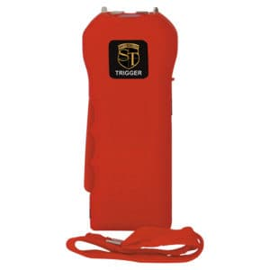 red trigger stun gun with side view