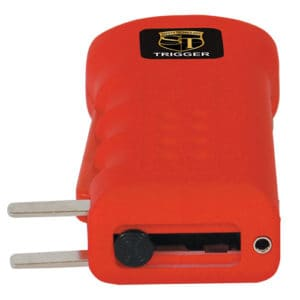 red trigger stun gun with charging prongs showing on side
