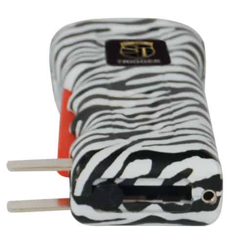 zebra print trigger stun gun with charging prongs showing on side