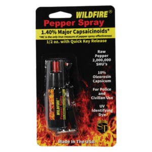 1/2 oz wildfire pepper spray with belt clip in package