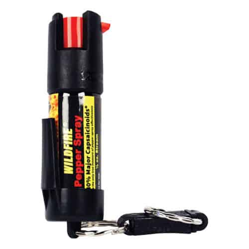 wildfire pepper spray with belt clip and quick release key chain front view