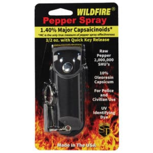 1/2 oz wildfire pepper spray with leatherette holster black in package