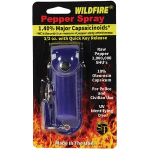 1/2 oz wildfire pepper spray with leatherette holster blue in package