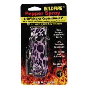 1/2 oz wildfire pepper spray with leatherette holster leopard print in package