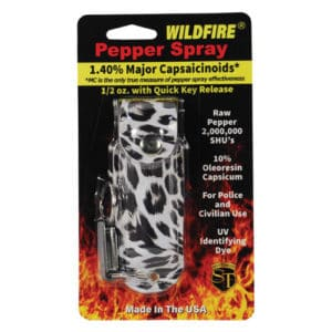 1/2 oz wildfire pepper spray with leatherette holster animal print in package