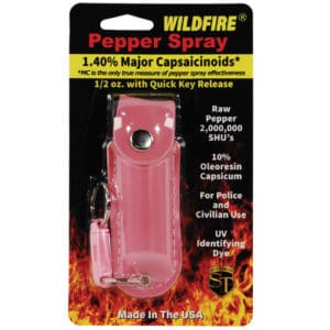 1/2 oz wildfire pepper spray with leatherette holster print in package