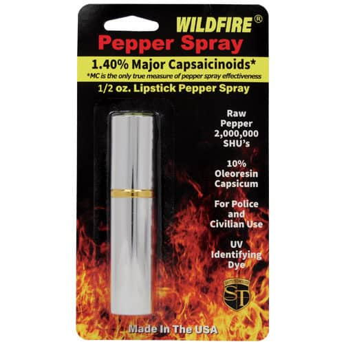 lipstick windfire pepper spray in package back silver back of package