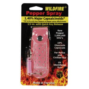 1/2 oz wildfire pepper spray in rhinestone holster in package pink