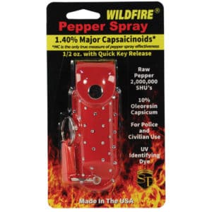 1/2 oz wildfire pepper spray in rhinestone holster in package red