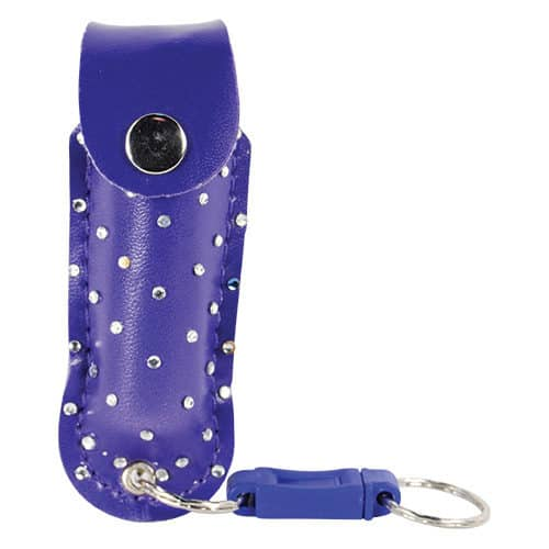 1/2 ox blue pepper shot pepper spray in leatherette holster front view