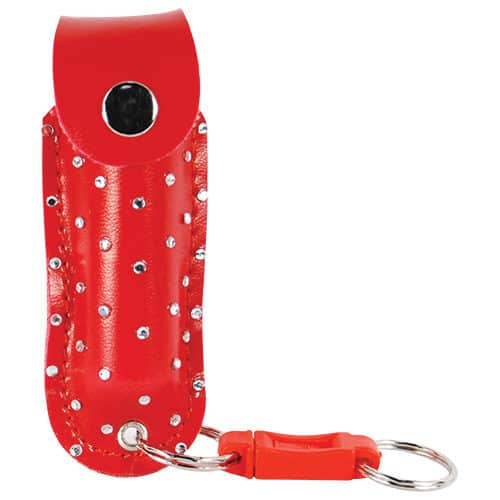 1/2 ox red pepper shot pepper spray in leatherette holster front view