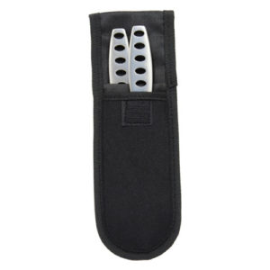 2 throwing knives in holder silver