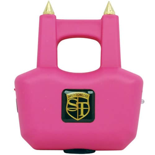 two prong pink spike stun gun front view