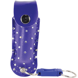purple polka dot pepper spray with quick release key chain