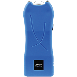 blue stun gun front view with rechargeable battery